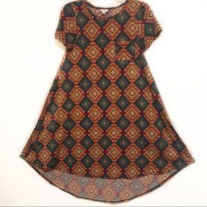 LuLaroe Carly Dress XS Hi-Lo TShirt Diamond Print